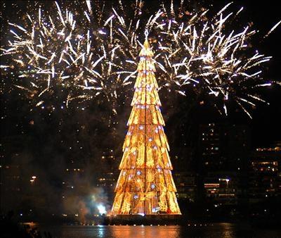 El mayor árbol de Navidad flotante adorna Río de Janeiro 3