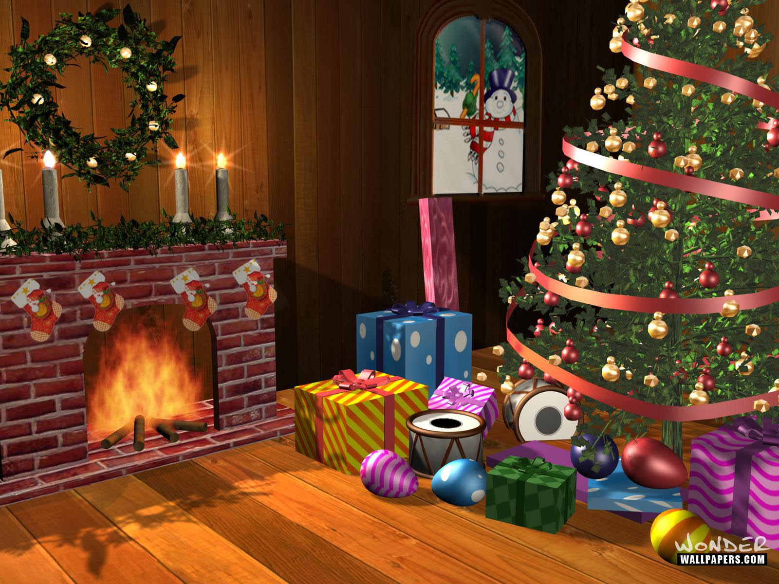 Fondo de navidad en el hogar con la chimenea y regalos