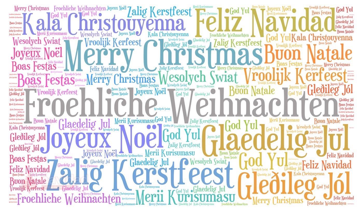Feliz Navidad en otros idiomas - nube de navidad
