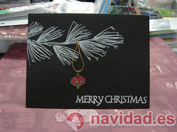 Postales navideñas artesanales rama de pino