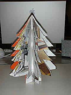 Manualidad hacer un arbol de navidad con una revista