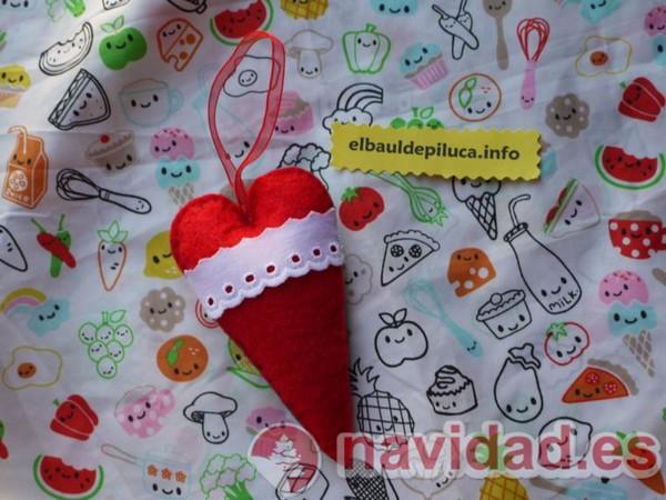 Adorno de Navidad gorro papá noel con corazón