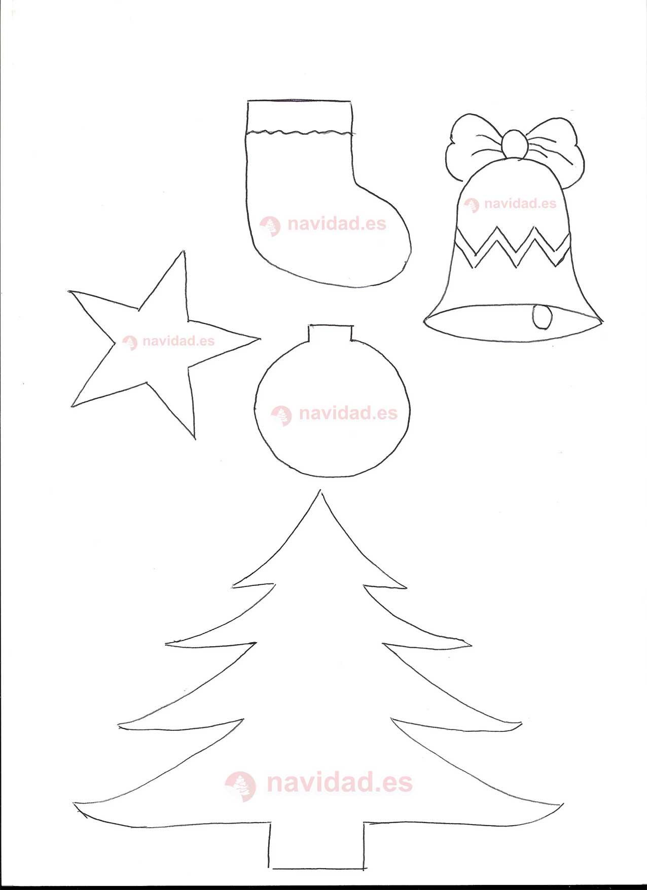 Dibujos rbol y bolas para descargar navidad - Plantillas adornos navidenos ...