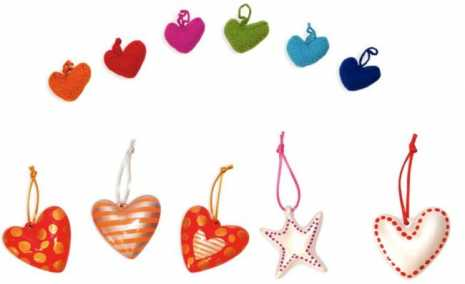adornos arbol corazones