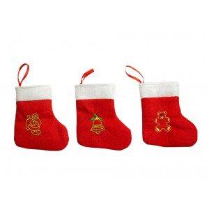 3 mini-calcetines de Papá Noel rojos