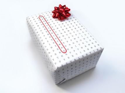 Papel de regalo original con sopa de letras 6