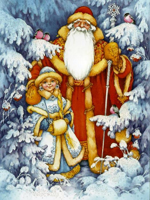 Рисунок с дедом морозом и елкой