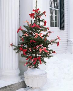 árbol de navidad con lazos