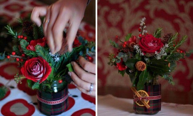 Arreglo floral navide o navidad - Centro de mesa navideno manualidades ...