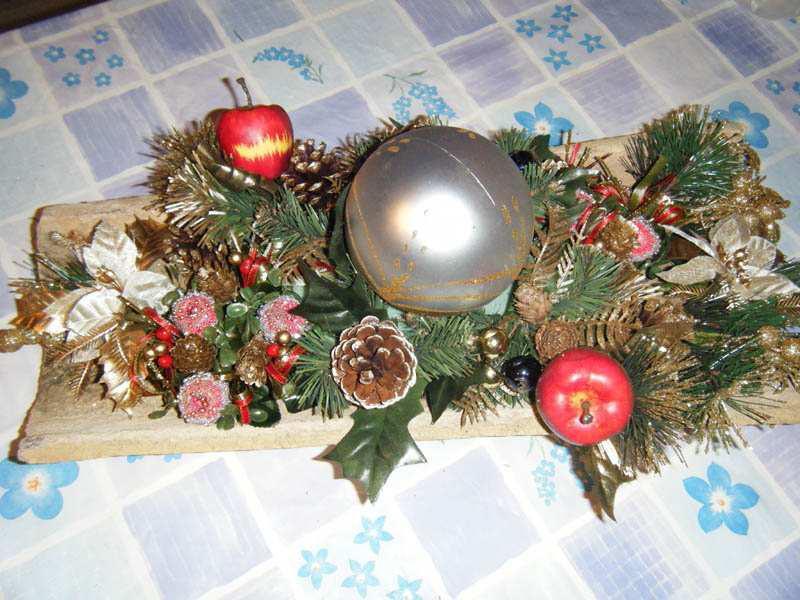 Paso 3 centro navidad con teja navidad - Centros de mesa navidenos manualidades ...