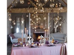 mesa de Navidad en rosa