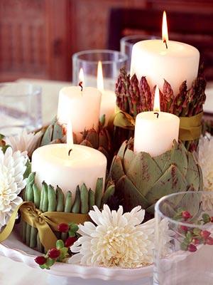 decoracion navideña con velas