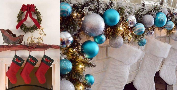 decoracion de chimeneas para Navidad 2 - adornos tradicionales