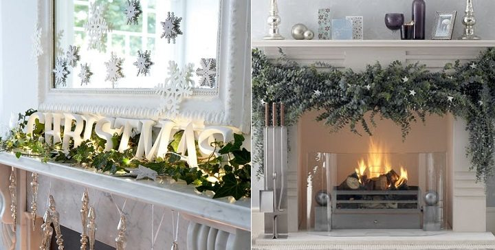 decoracion de chimeneas para Navidad 5 - toque natural