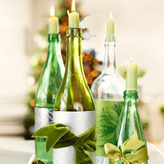 decoracion navideña con botellas