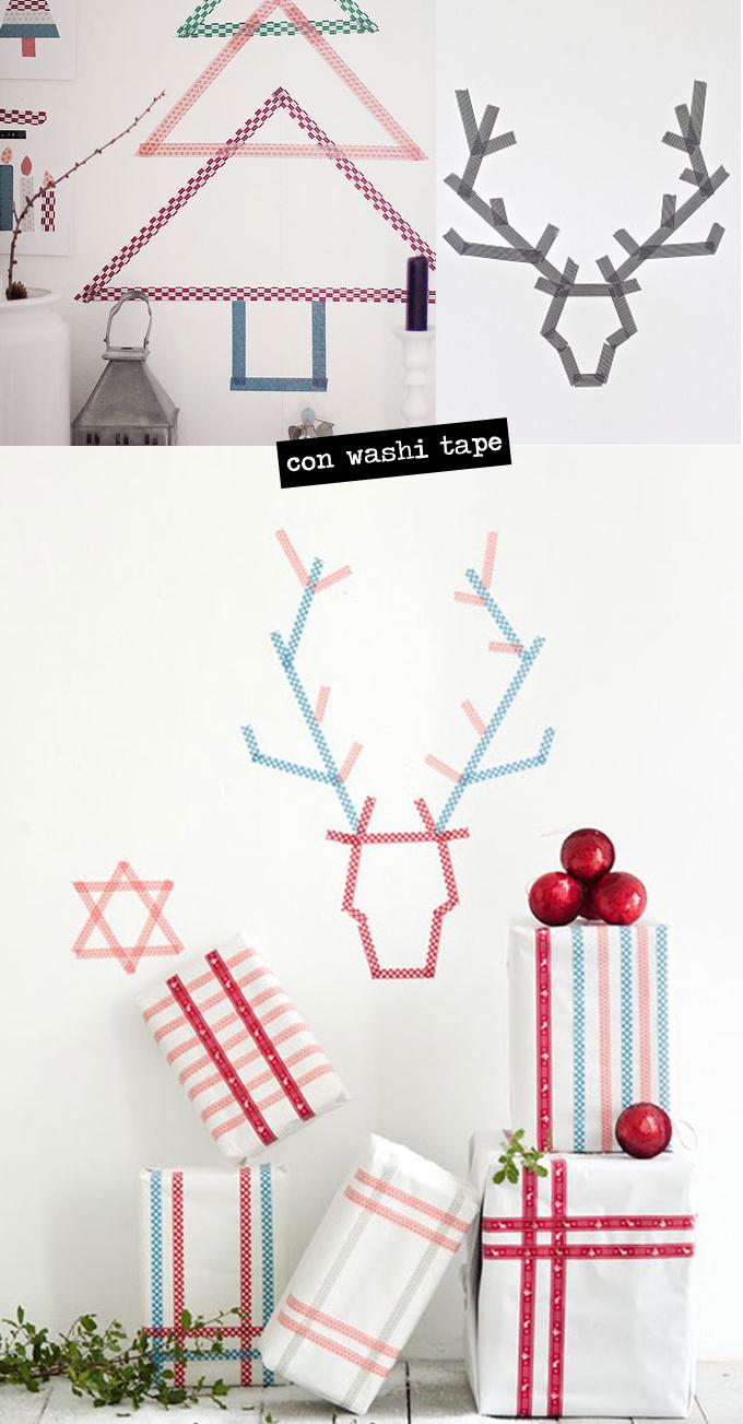 árbol, reno, navidad, washi tape