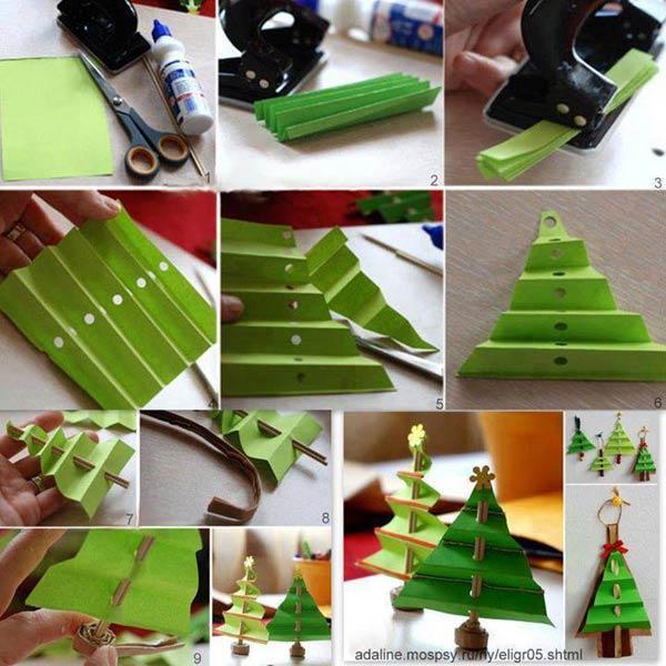 Árbol de Navidad hecho de cartulina