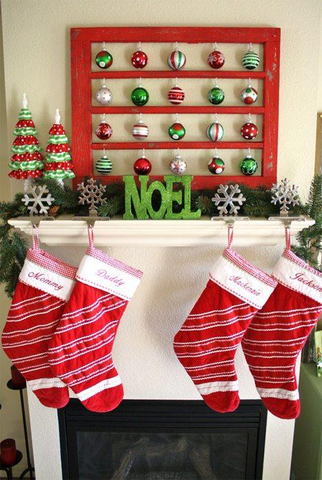 decorar la chimenea 1 - rojo y verde