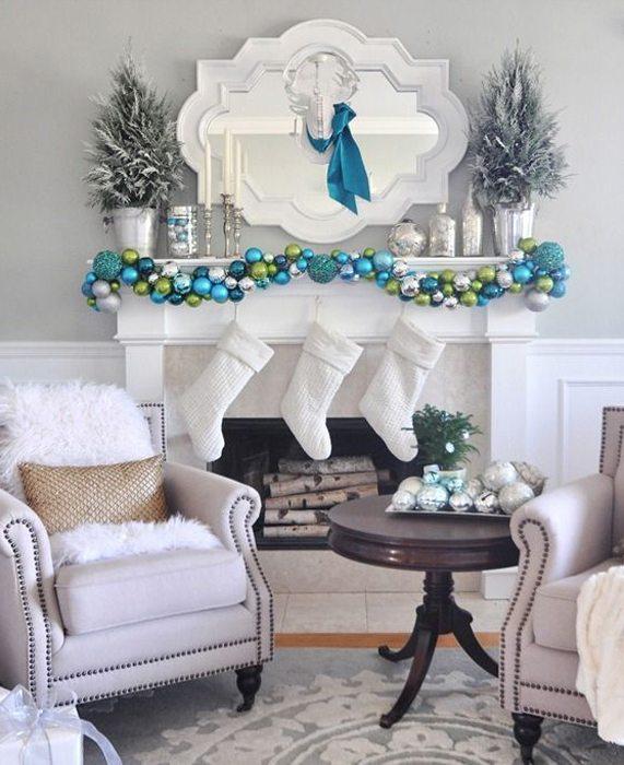 decorar la chimenea 4 - deocrar azul verde y blanco