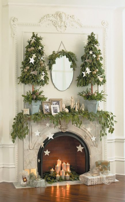 decorar la chimenea 7 - elementos naturales