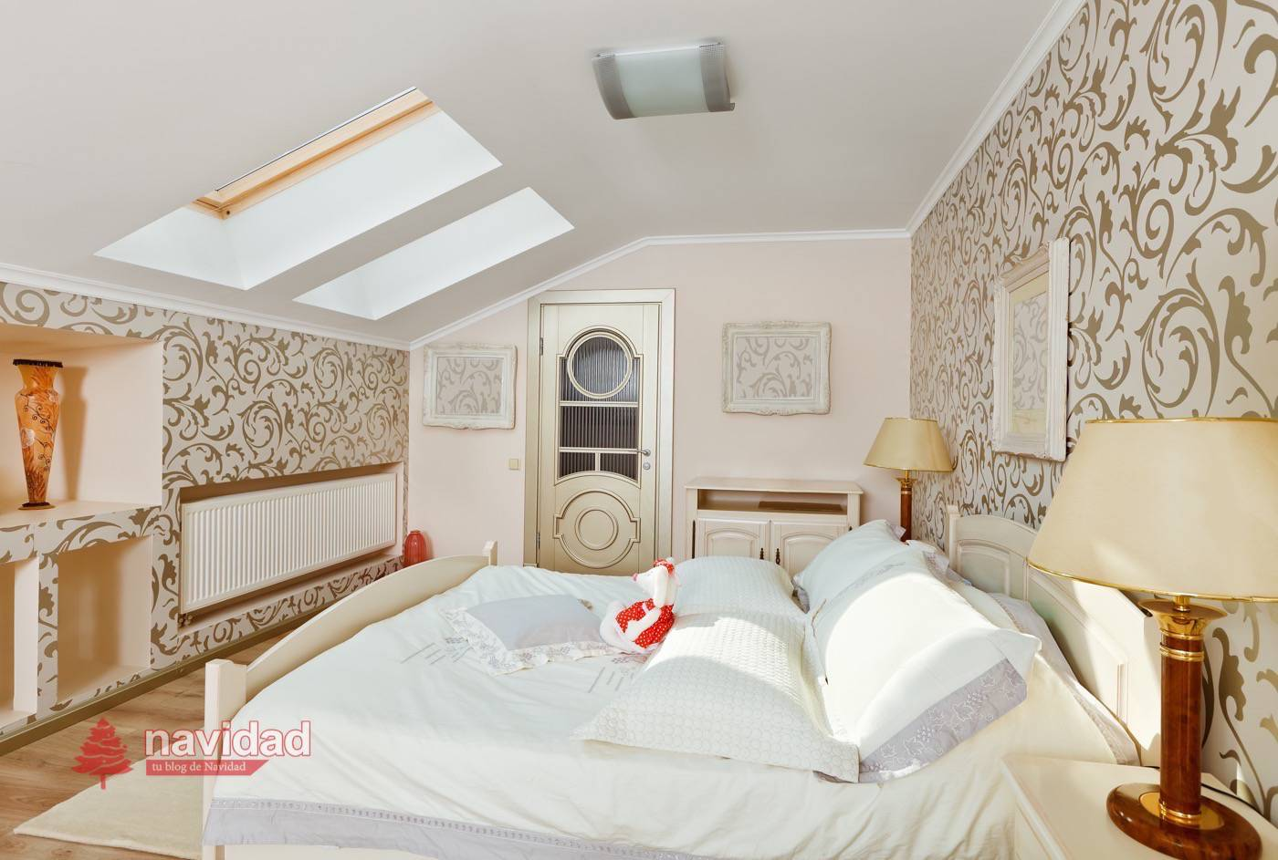 Decoraci n navide a de dormitorios en blanco navidad - Decoracion dormitorio blanco ...