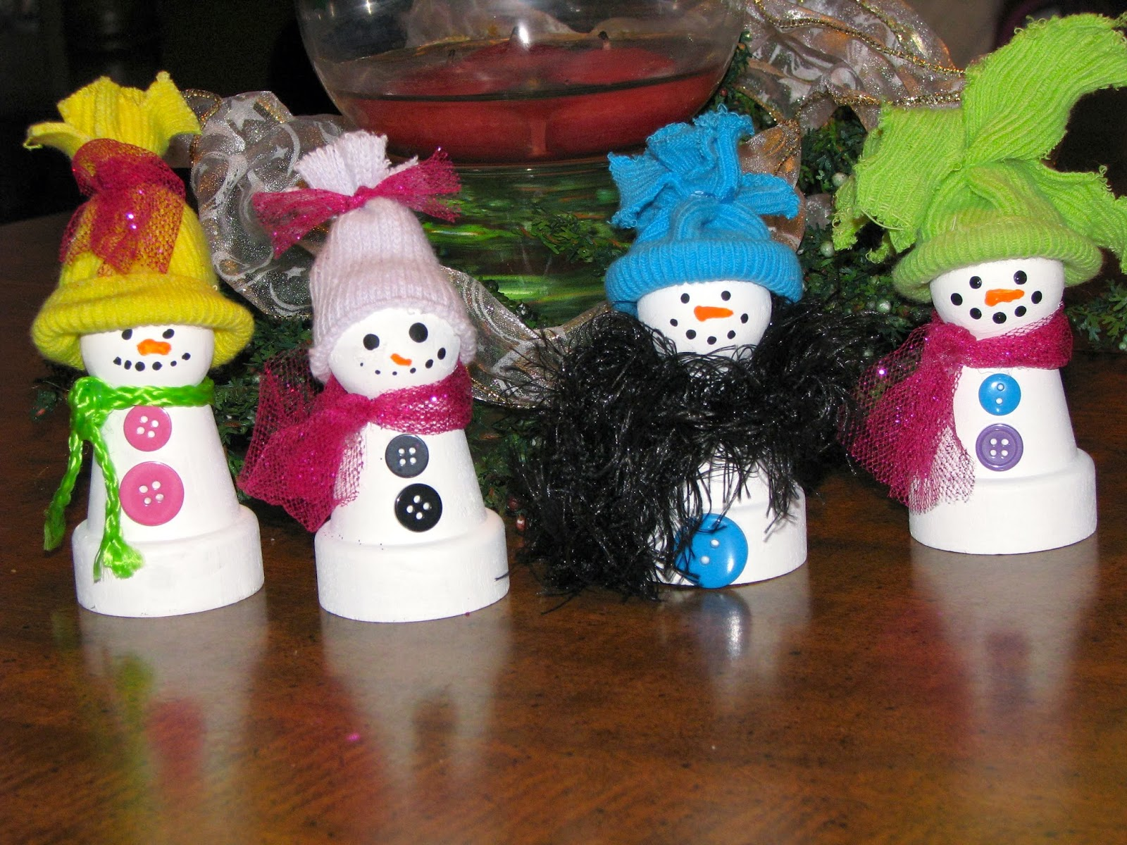 muñecos de nieve macetas