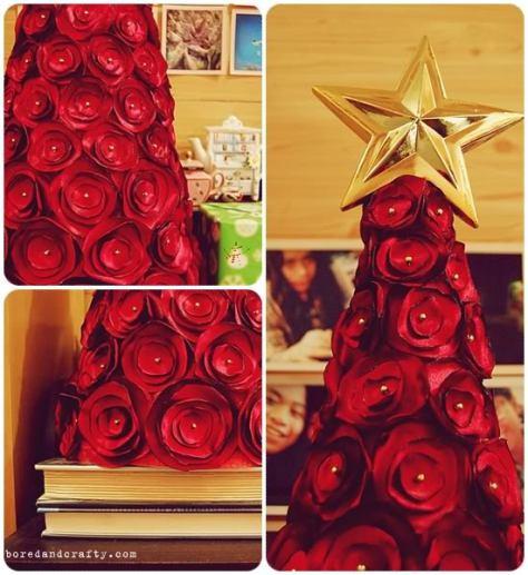 C mo hacer rbol de navidad con rosas de tela - Hacer arbol navidad ...