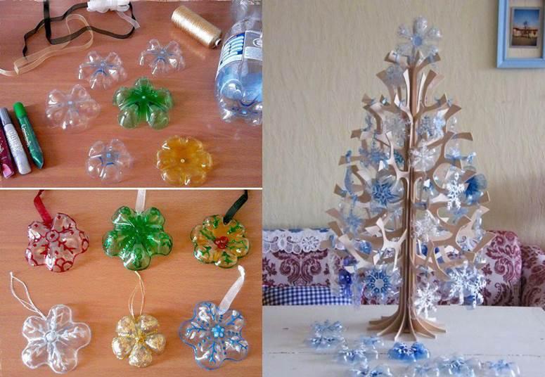 adornos navideños de botellas recicladas