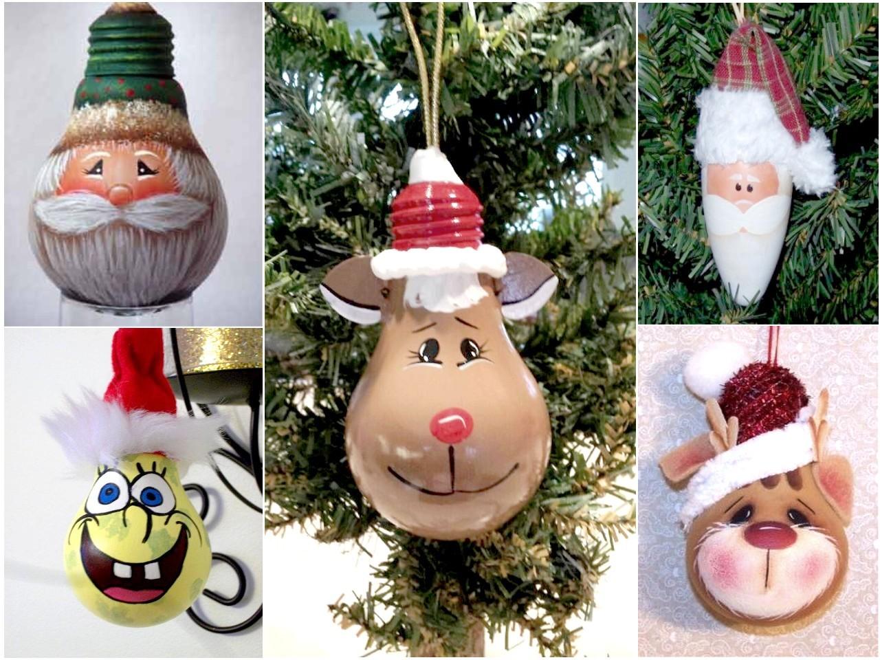reciclar bombillas para decorar en Navidad