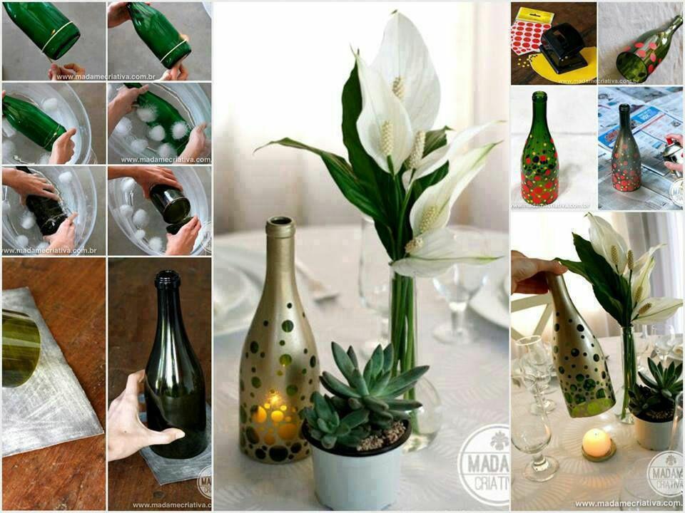 velas con botellas de cristal