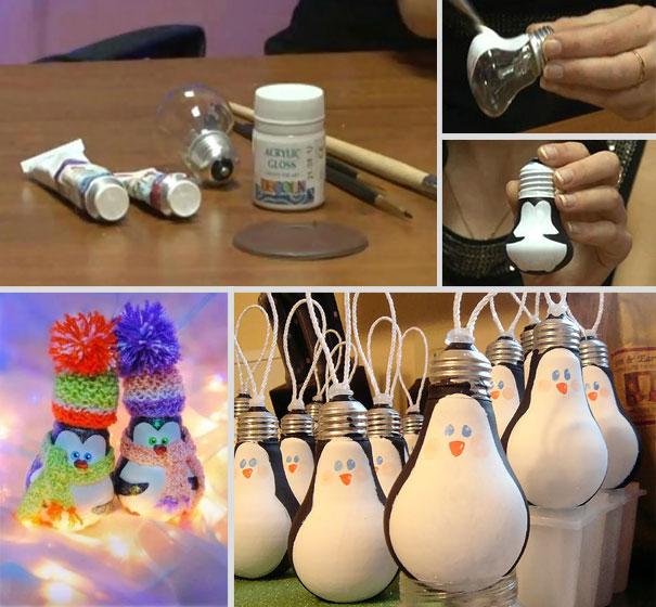 Ideas para decorar en Navidad bombillas con forma de pingüino