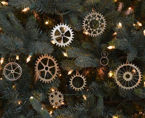 Ideas para decorar en Navidad ruedas dentadas