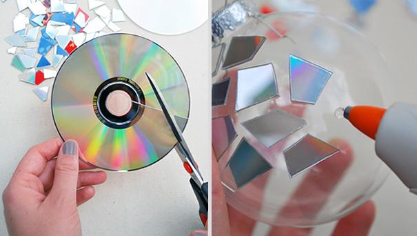 Ideas para decorar en Navidad cds pegados