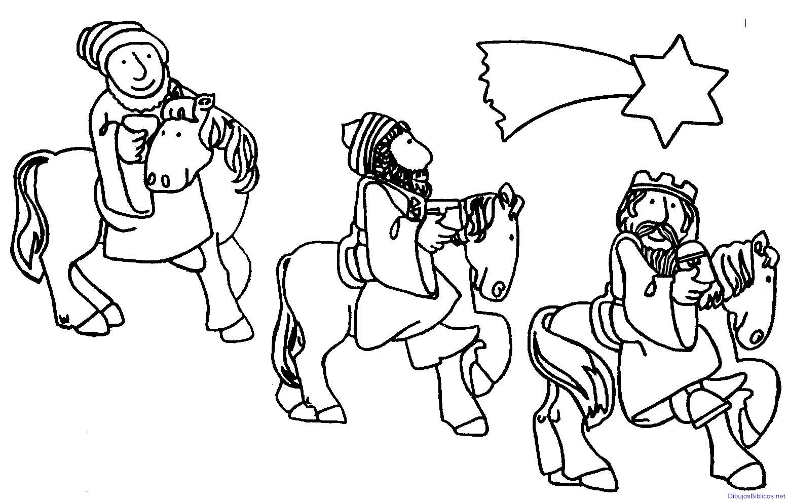 Dibujos navidenos de los reyes magos para colorear