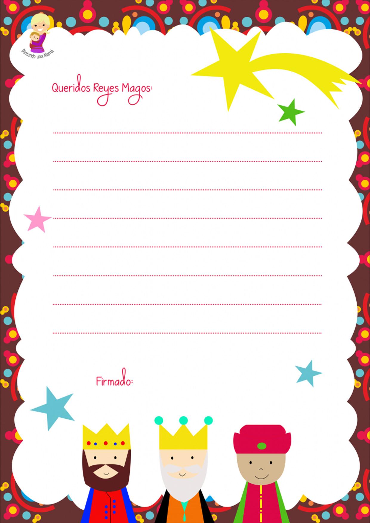 Plantilla para carta de Reyes Magos 2016