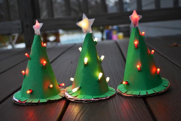 adornos navideños caseros arboles carton