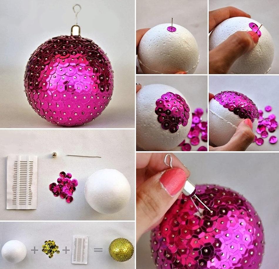 adornos navideños caseros bola lentejuelas