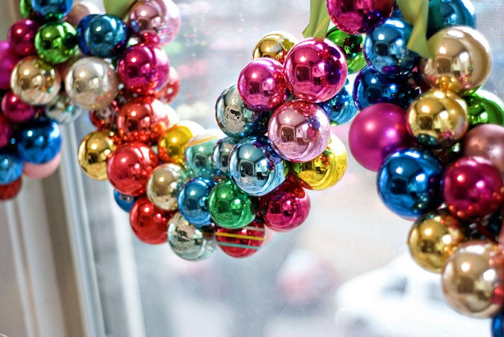 decorar con bolas de Navidad guirnalda bolas