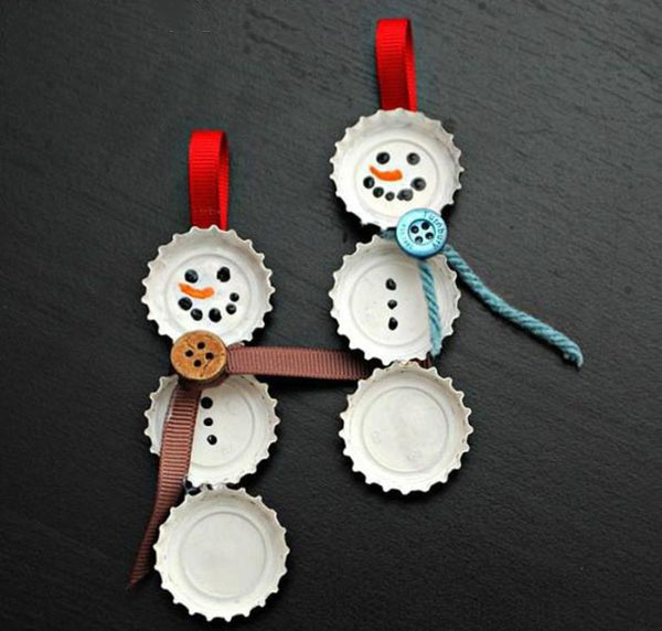 adornos navideños caseros munecos con chapas
