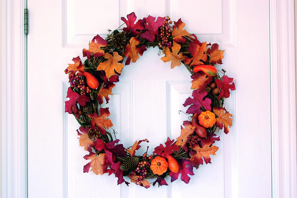 coronas de Navidad corona hojas puerta