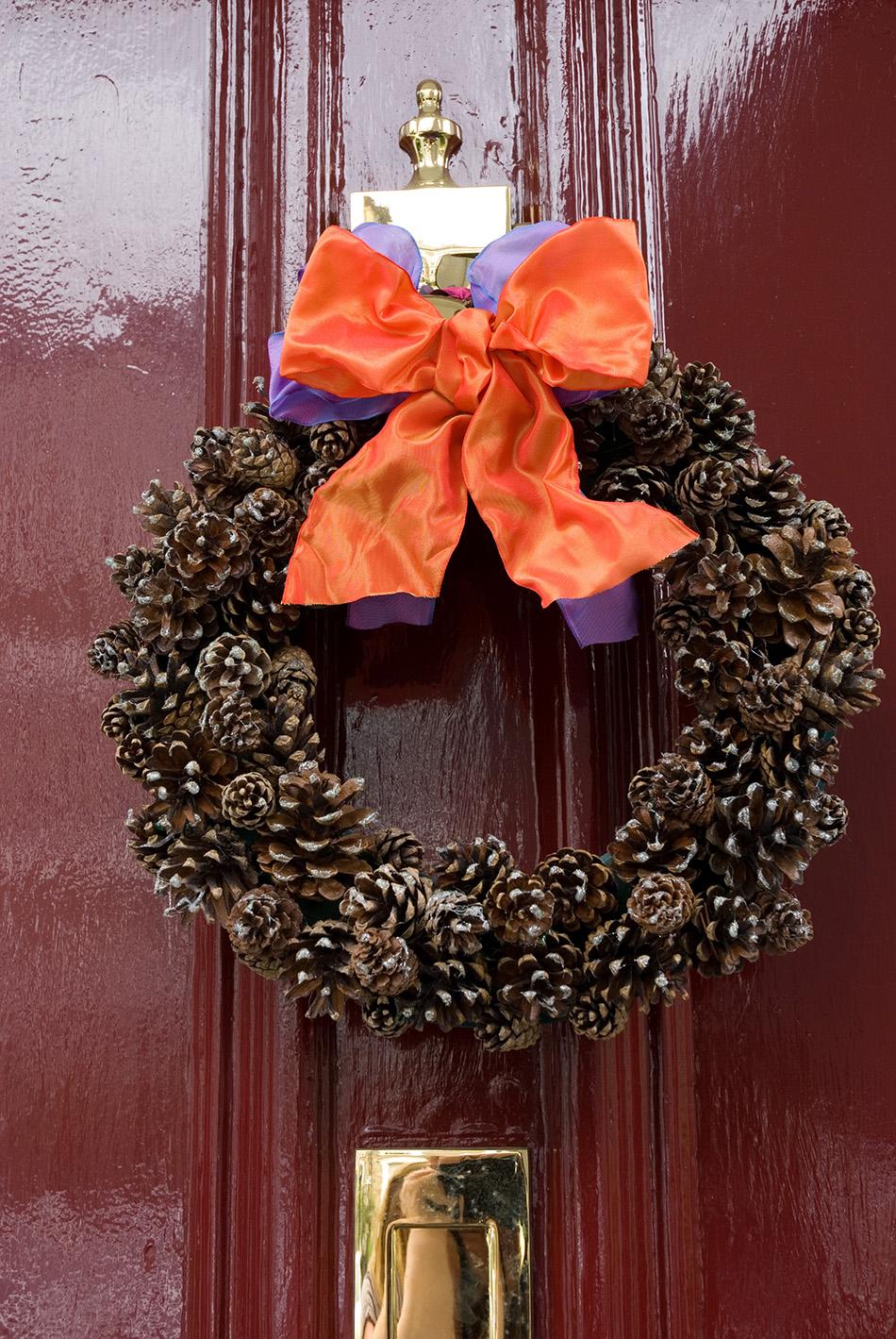 coronas de Navidad corona pinas puerta