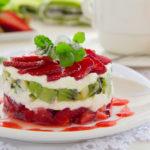 postres de Navidad - Milhojas de fresas, kiwi y queso crema