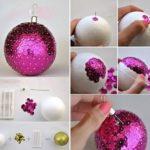 decoraciones para Navidad con bolas y purpurina