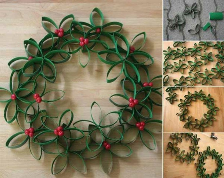 decoraciones para Navidad coronas con papel