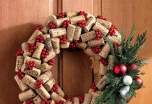 decoraciones para Navidad - corona de corchos