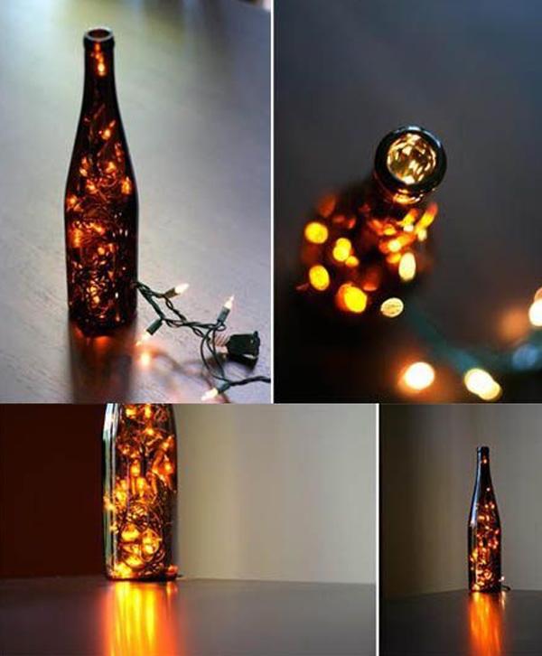decoraciones para Navidad con botellas de cristal