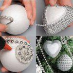 bolas de Navidad de poliespan con perlas