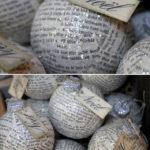 bolas de Navidad de poliespan con papel de periódico