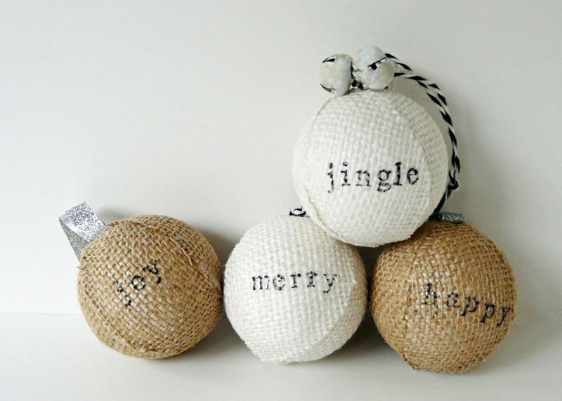 bolas de Navidad de poliespan con tela de saco