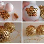 bolas de Navidad de poliespan con chinchetas